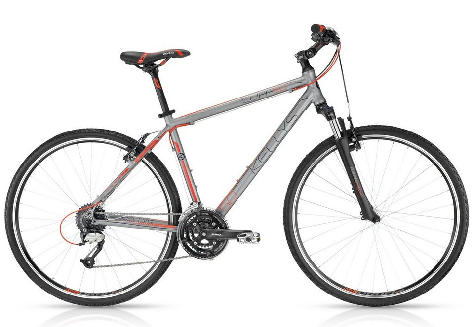 Kellys Crossbike, Herren, 28 Zoll, 24 Gang Shimano Kettenschaltung, »Cliff 50 Shadow Red« in grau
