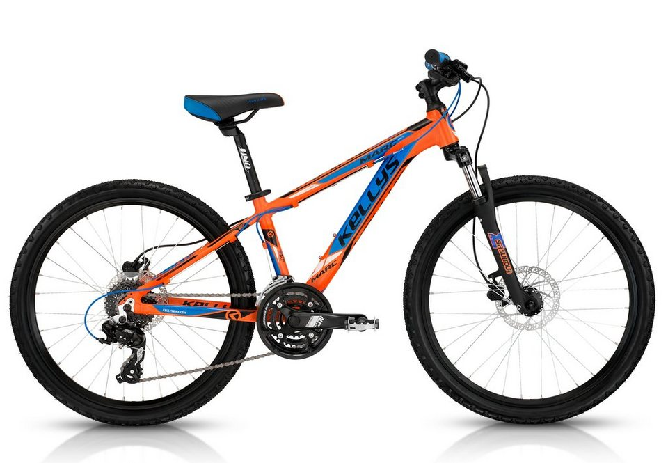 Kellys Jugendrad, Hardtail MTB, 24 Zoll, 24 Gang Shimano Kettenschaltung, »Mark 90« in orange-blau