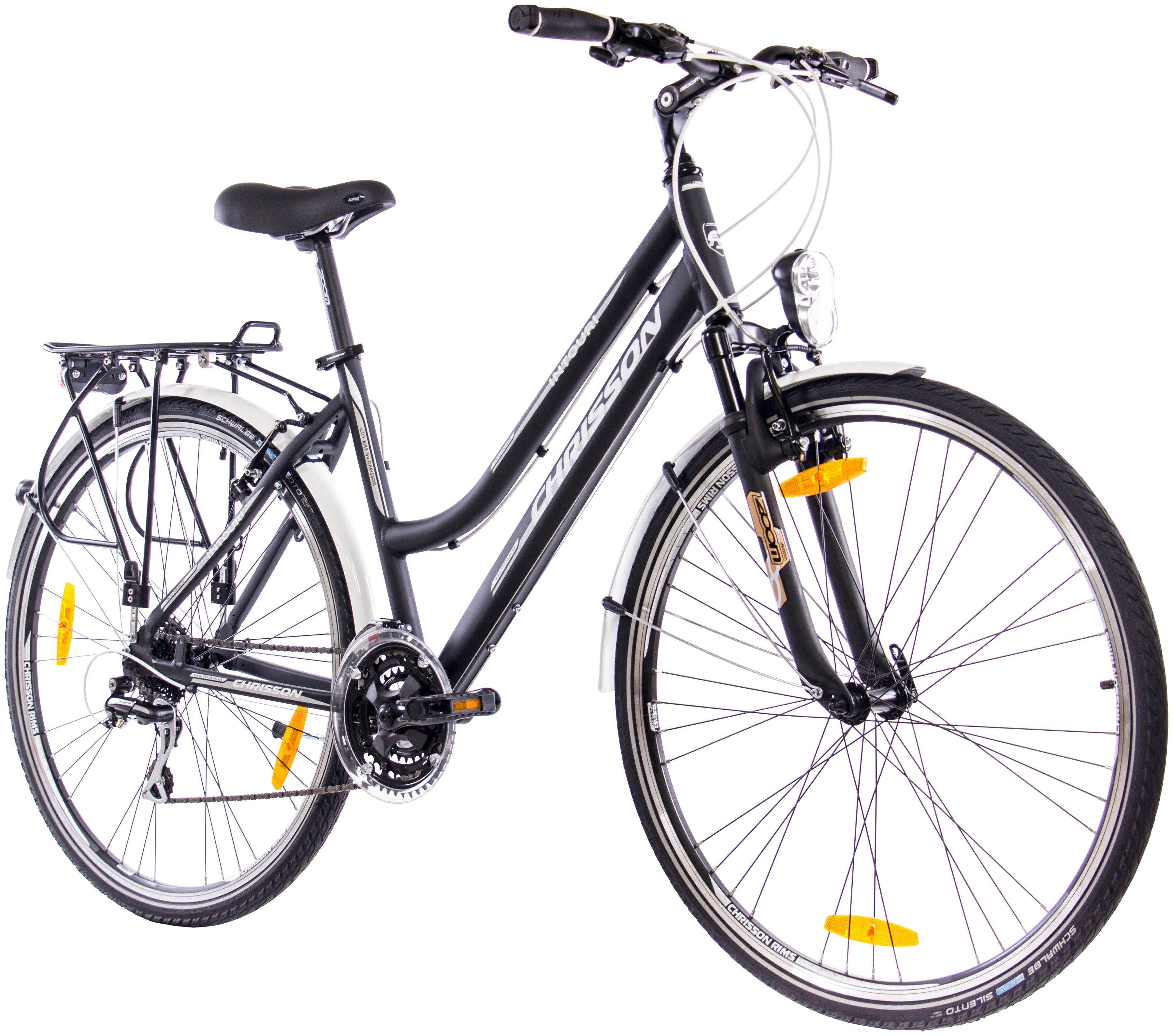 Chrisson Trekkingrad (Damen) »INTOURI LADY schwarz matt, 71,12 cm (28 Zoll)«