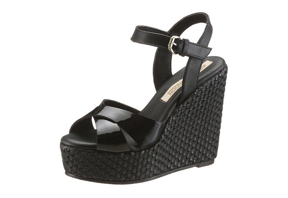 Buffalo London High Heel Sandalette in Flecht-Optik in schwarz