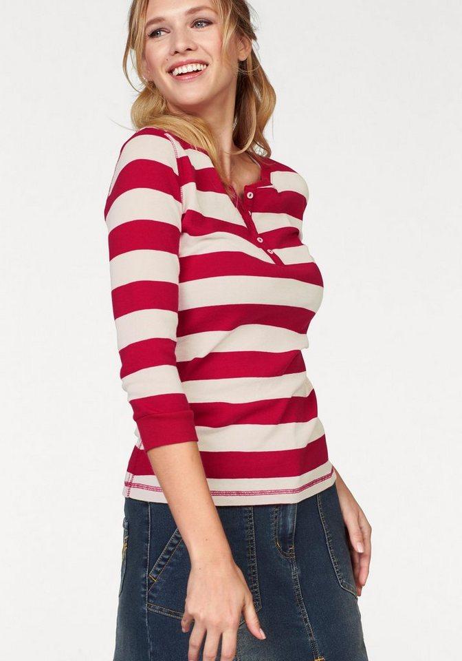 Cheer 3/4-Arm-Shirt in angesagtem Steifendessin in rot-weiß-gestreift