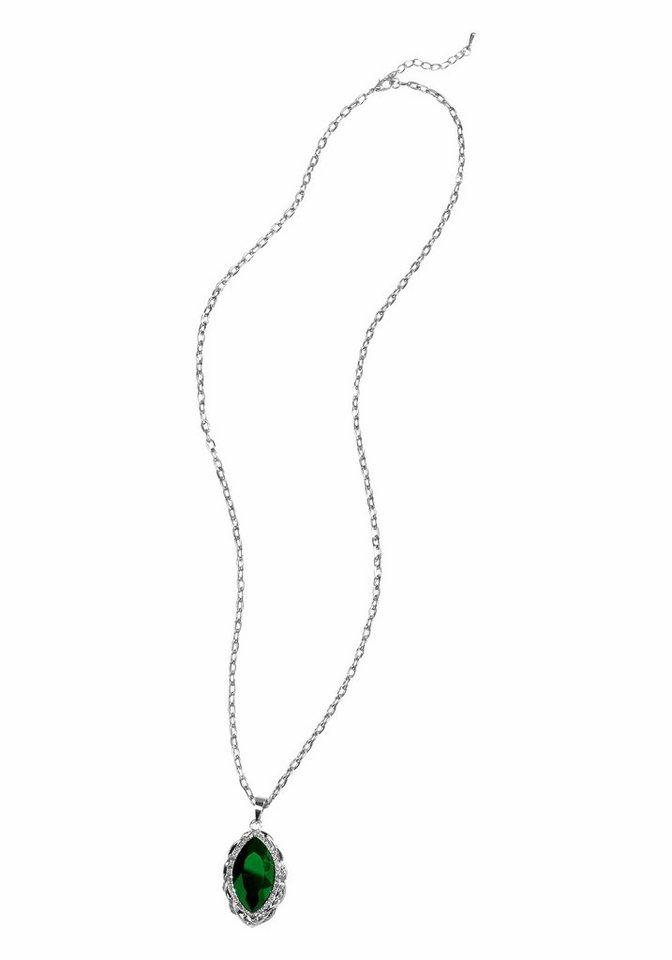 J. Jayz Kette »mit großem Schmuckstein« in silberfarben-schwarz