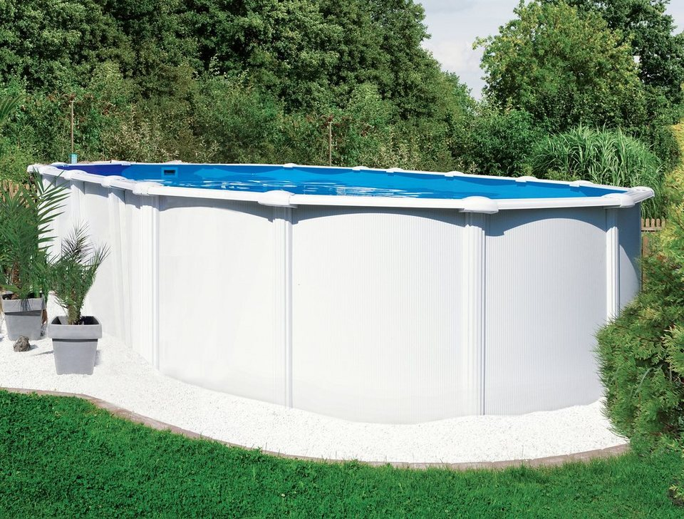 Komplett-Set: Ovalpool mit Edelstahlleiter und Sandfilteranlage (13-tlg.) in weiß