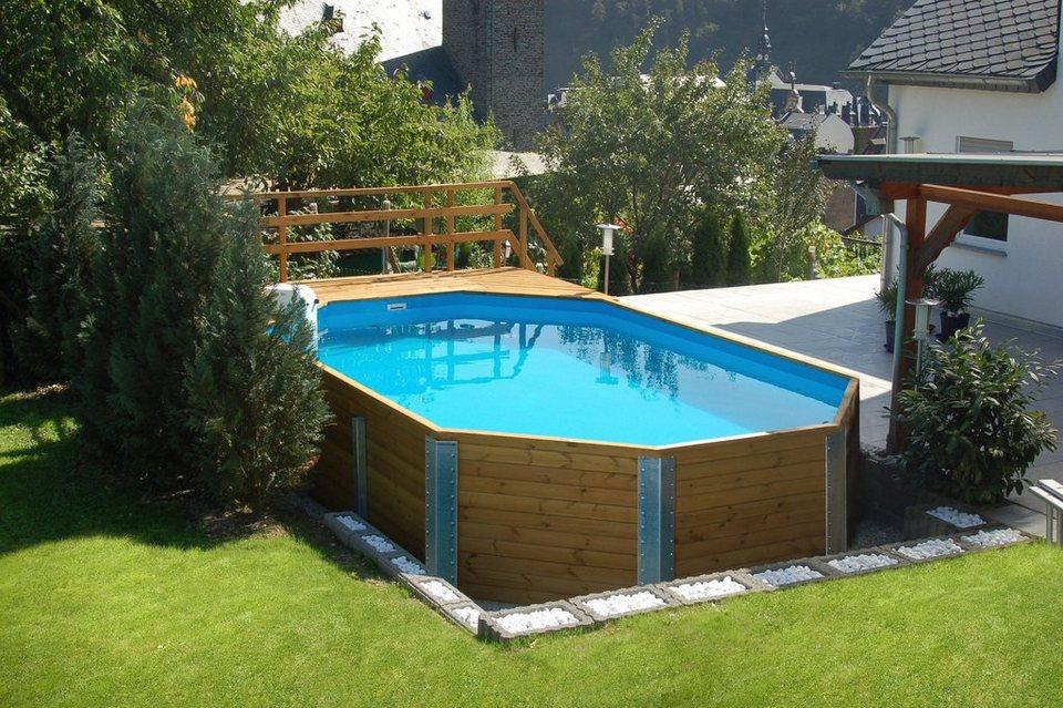 Weka set achteck holzpool mali 5 online kaufen otto for Aufblasbarer pool mit sandfilteranlage