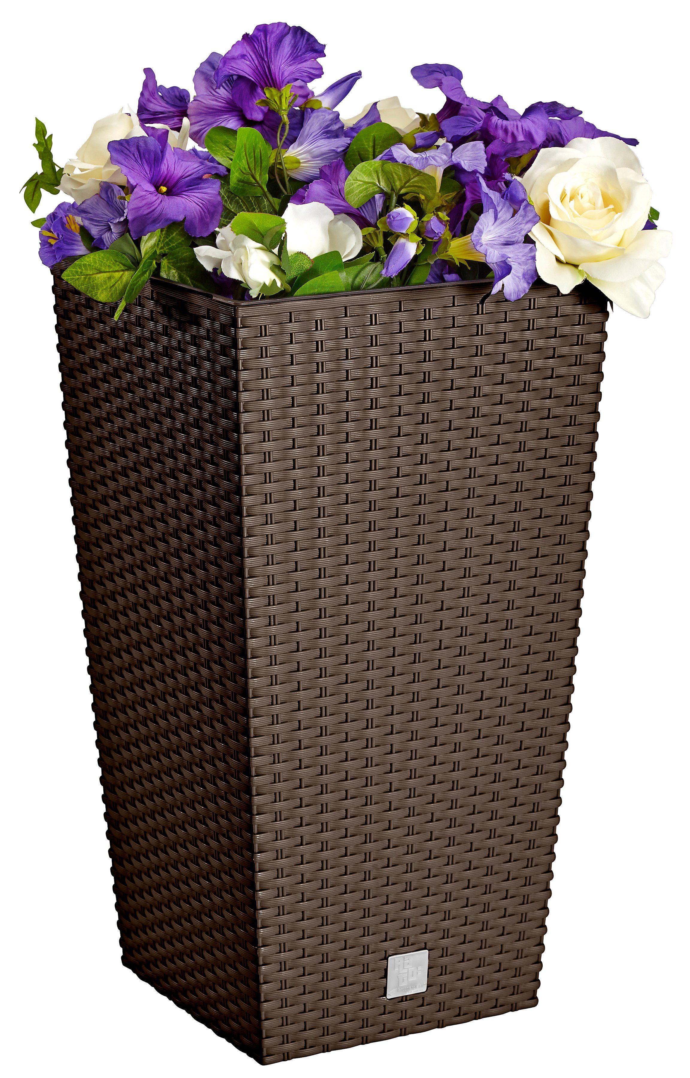 Prosperplast Blumentopf »Rati Square 325«, braun, B/T/H: 33/33/61 cm