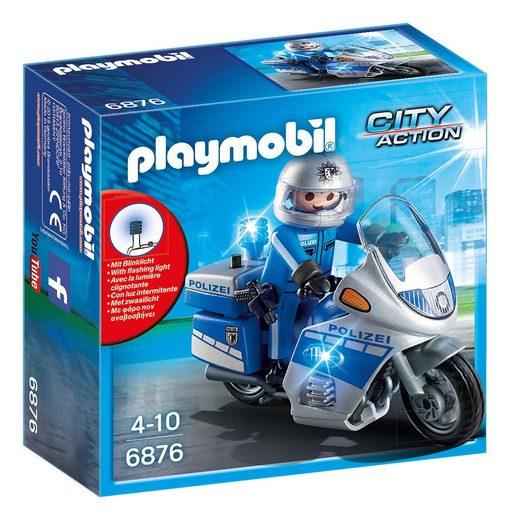 Playmobil® Konstruktions-Spielset »Motorradstreife mit LED-Blinklicht (6876), City Action«, Made in Germany