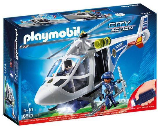 Playmobil® Konstruktionsspielsteine »Polizei-Heli LED Suchscheinwerfer (6874), City Action«