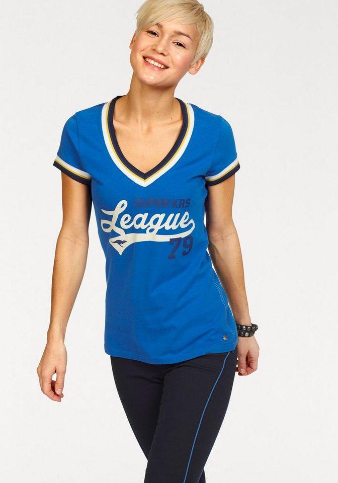 KangaROOS T-Shirt mit Print vorn und hinten in blau