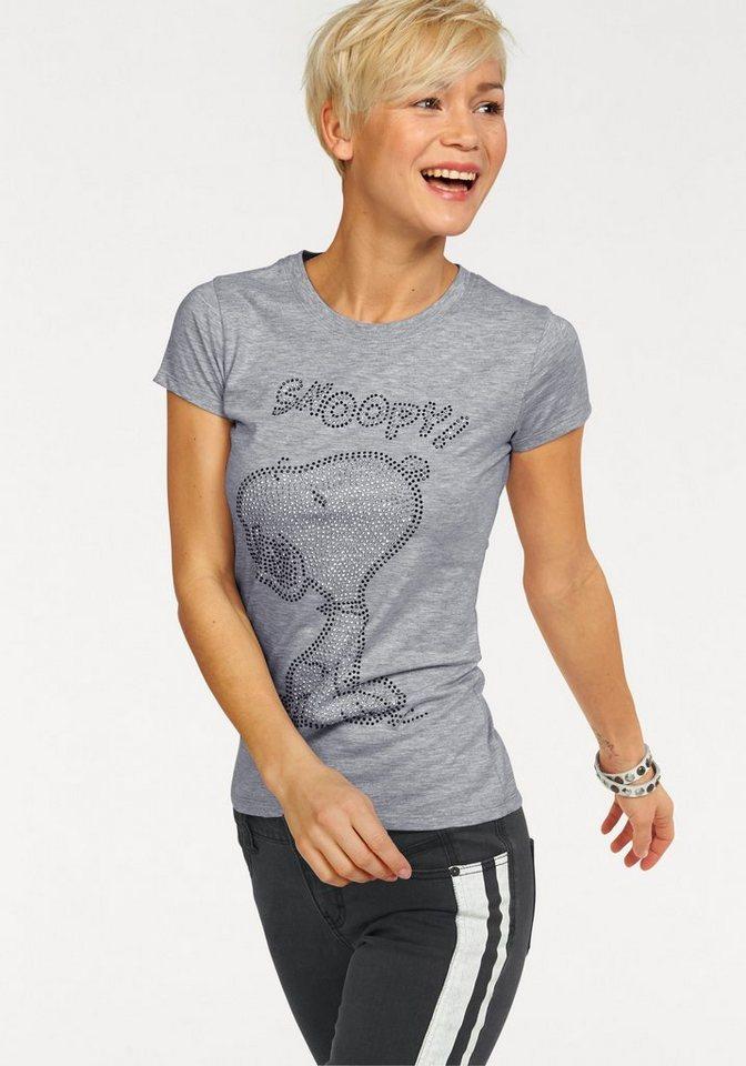 KangaROOS T-Shirt mit Mickey oder Snoopy aus Glitzersteinen in grau-meliert
