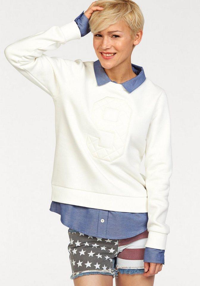 KangaROOS Sweatshirt im 2-in-1-Look in weiß-denim
