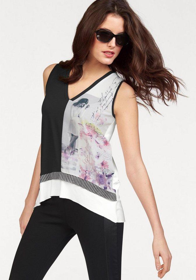 Vivance T-Shirt in weiß-schwarz-rosé-lila-bedruckt