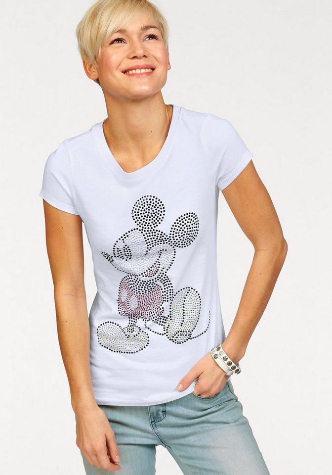 Walt Disney T-Shirt mit Mickey aus Glitzersteinen in weiß