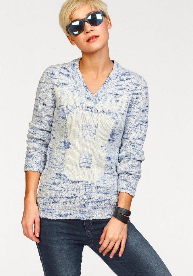 KangaROOS V-Ausschnitt-Pullover mit Effektgarn in blau-weiß