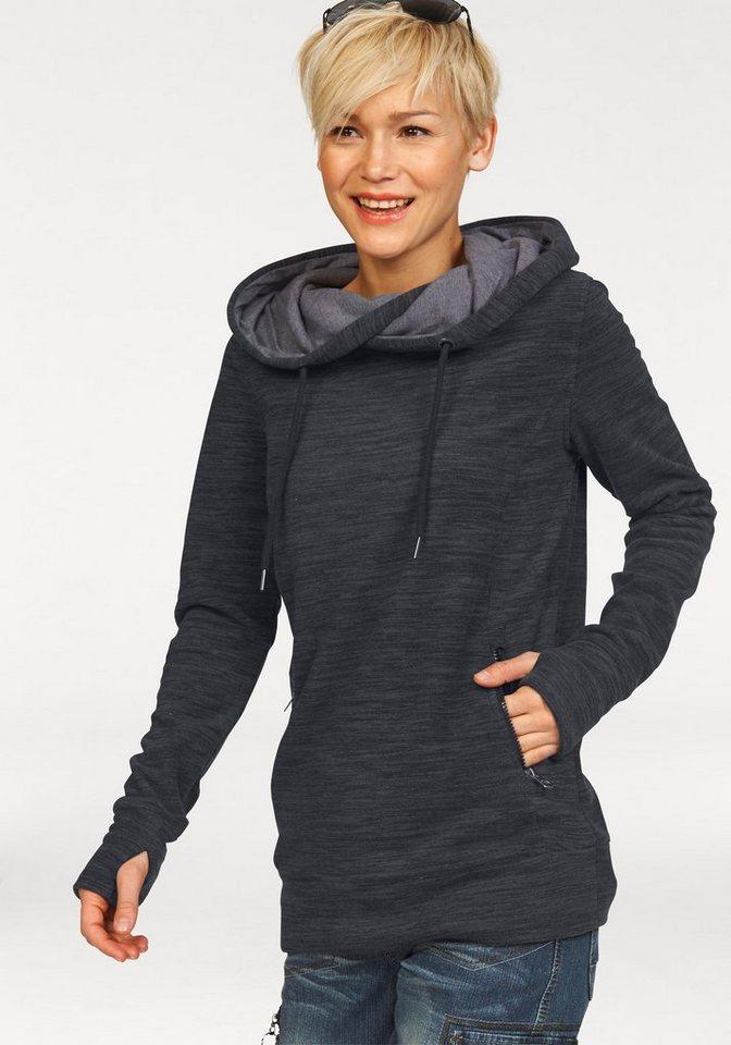 KangaROOS Fleeceshirt mit Melange-Effekt in schwarz-grau