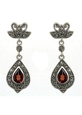 esse Paar Ohrringe mit Granat und Markasit, »Tropfen, L0037E« in Silber 925/grau/rot