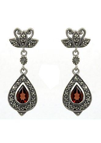 esse Paar Ohrringe mit Granat und Markasit, »Tropfen, L0037E«