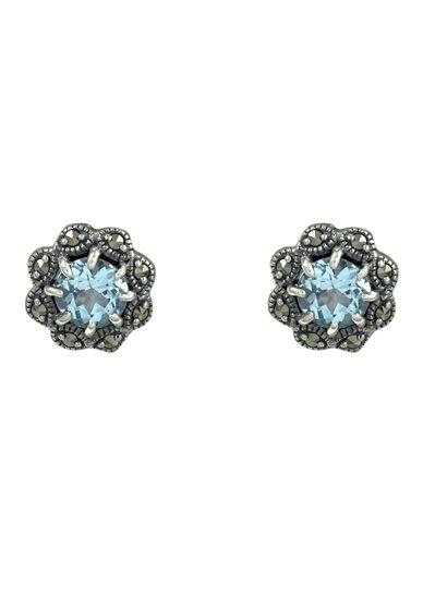 esse Paar Ohrstecker mit Blautopas und Markasiten, »Blume, L0027E« in Silber 925/grau/blau