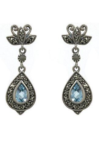 esse Paar Ohrringe aus Blautopas, »Tropfen, L0037E« in Silber 925/grau/blau