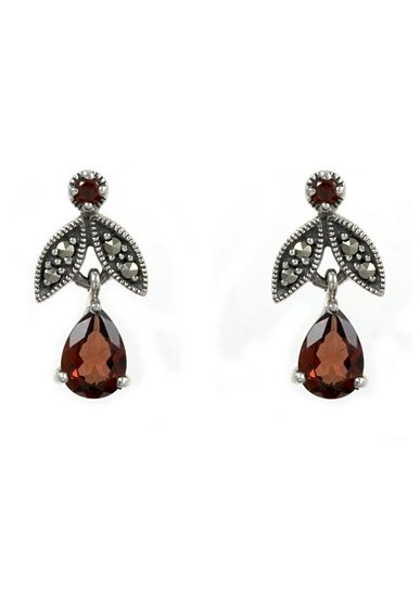 esse Paar Ohrringe mit Granat, »Tropfen, L0063E« in Silber 925/grau/rot