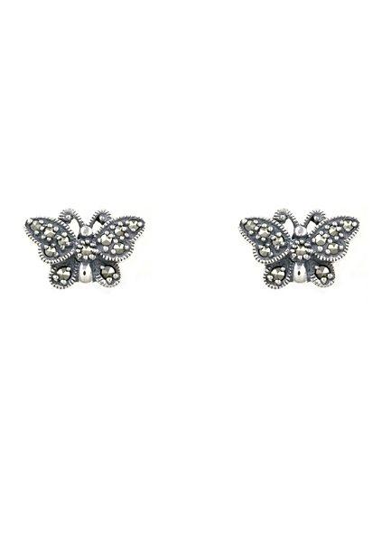 esse Paar Ohrstecker mit Markasiten, »Schmetterling, L0143E« in Silber 925/grau