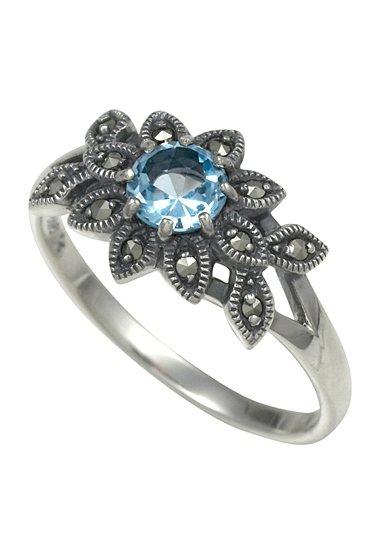 esse Ring mit Blautopas, »Blüte, L0072R« in Silber 925/grau/blau