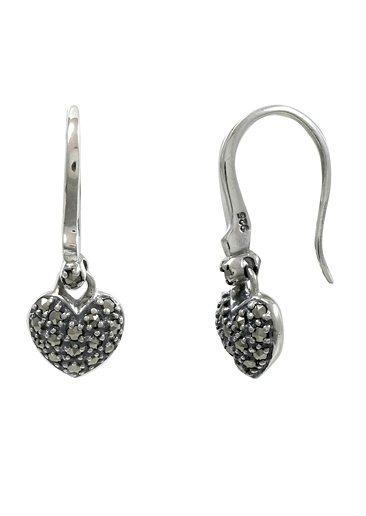 esse Paar Ohrringe mit Markasiten, »Herz, L0069E« in Silber 925/grau