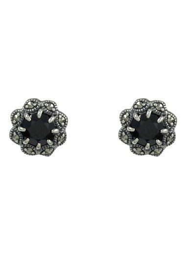 esse Paar Ohrstecker mit schwarzem Spinell und Markasiten, »Blume, L0027E« in Silber 925/grau/schwarz