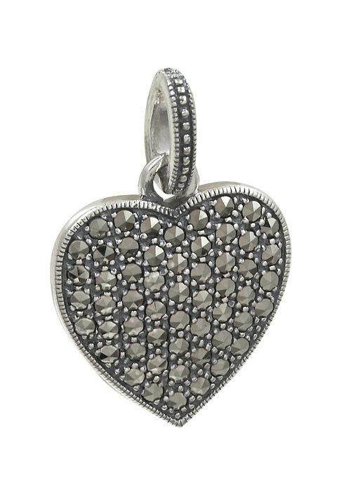esse Anhänger mit Markasiten, »Herz, L0101P« in Silber 925/grau
