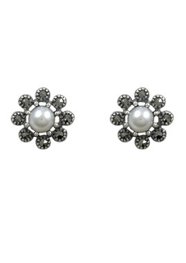 esse Paar Ohrstecker mit Süßwasserzuchtperlen, »Blume, L0080E« in Silber 925/grau/weiß