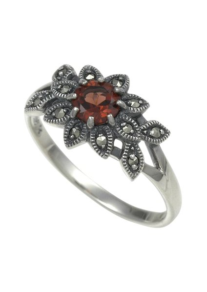 esse Ring mit Granat, »Blüte, L0072R« in Silber 925/grau/rot