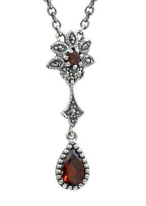 esse Halskette mit Granat, »Tropfen, L0072N« in Silber 925/grau/rot