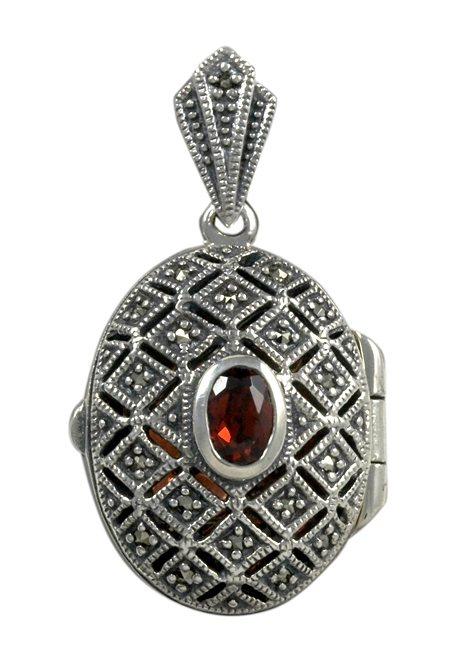 esse Anhänger zum Öffnen mit Granat, »Medaillon, L0103P« in Silber 925/grau/rot