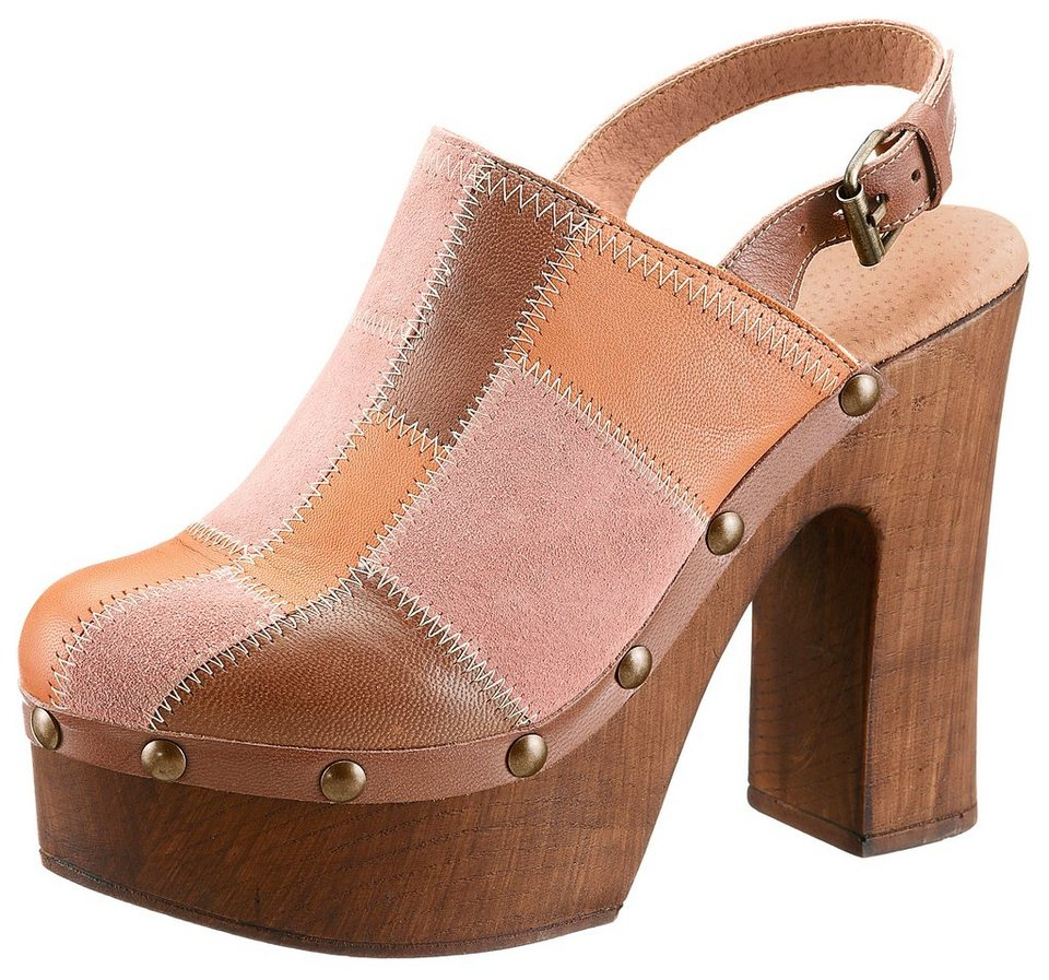 Laura Scott Clog im Patchwork Look in camelfarben-orange-rostrot