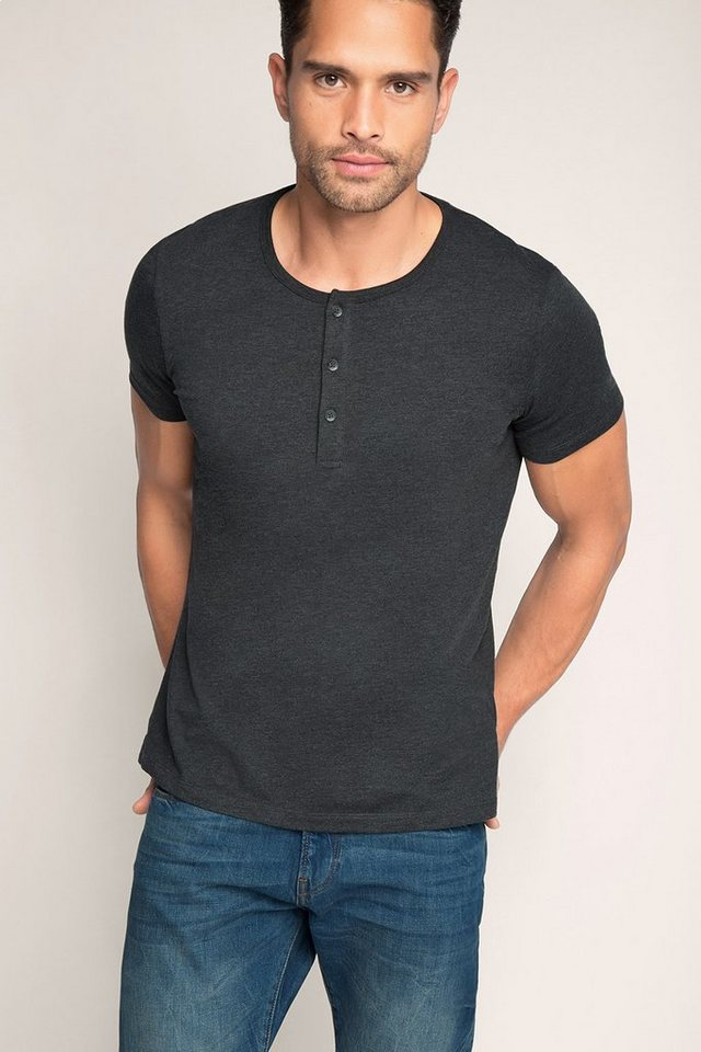 ESPRIT CASUAL Basic Jersey Henley aus Baumwoll Mix in ANTHRACITE