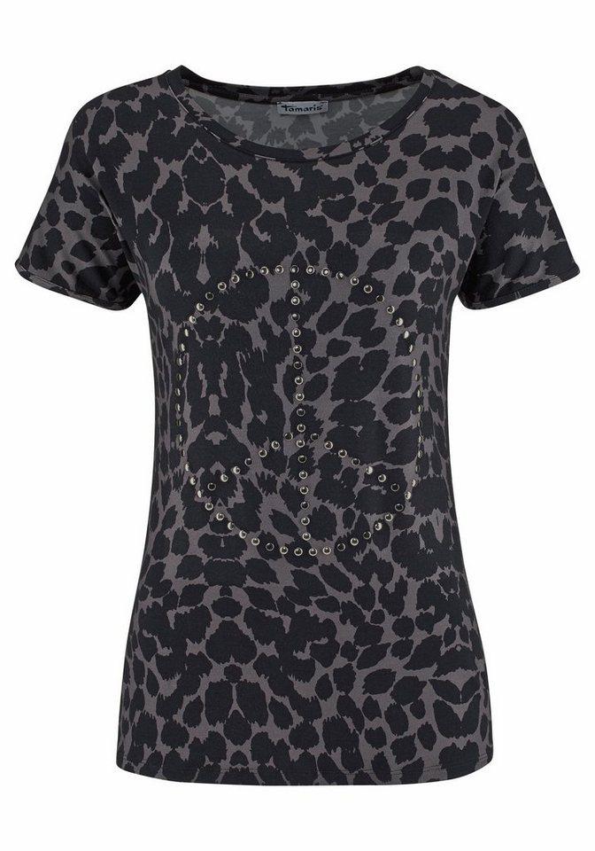 Tamaris T-Shirt in taupe-schwarz-bedruckt