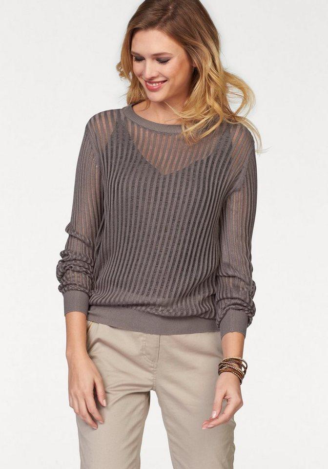 Tamaris V-Ausschnitt-Pullover mit tiefem Rückenausschnitt in taupe
