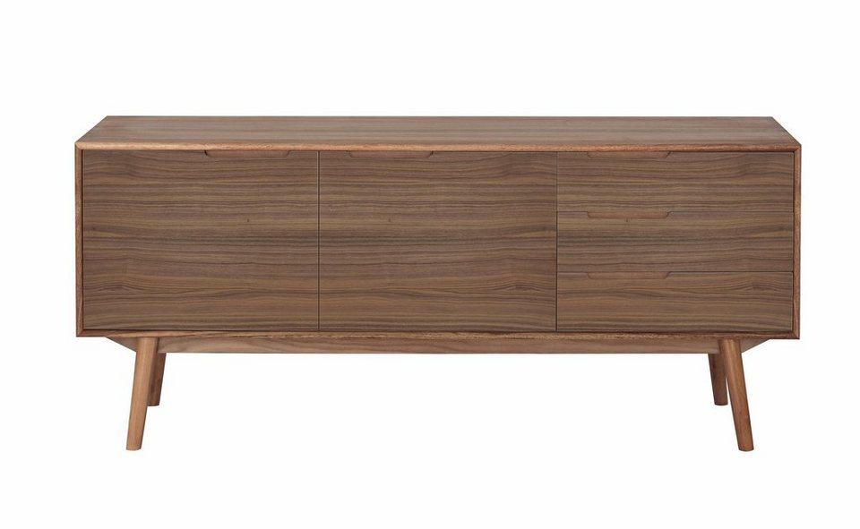 andas Sideboard »Curve«, walnut, im nordischen Design in walnut Furnier