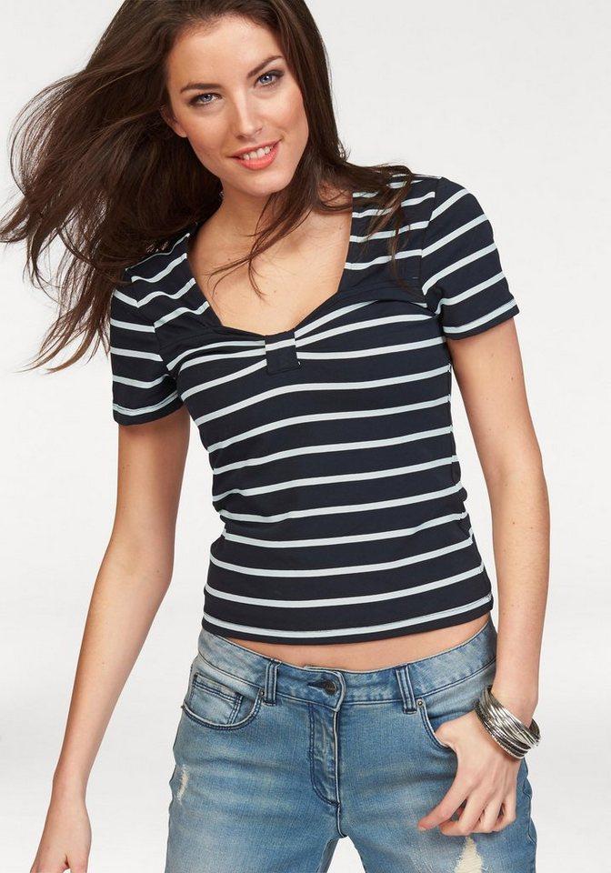 Aniston T-Shirt im Marine-Look in marine-weiß-gestreift