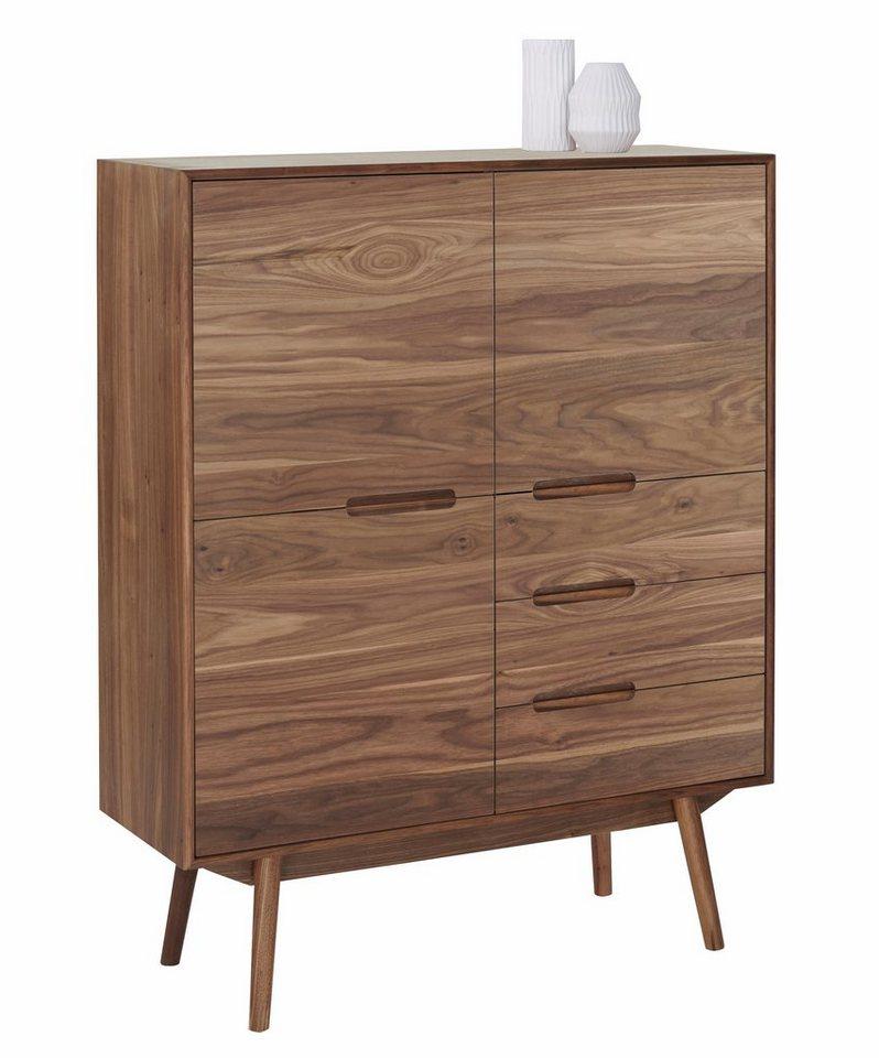 andas Highboard »Curve«, walnut im nordischen Design in walnut Furnier