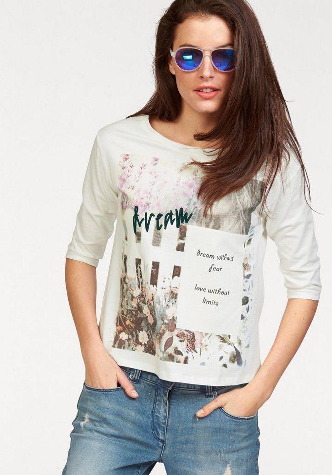 Aniston Print-Shirt in wollweiß-grün-pink-braun-bedruckt