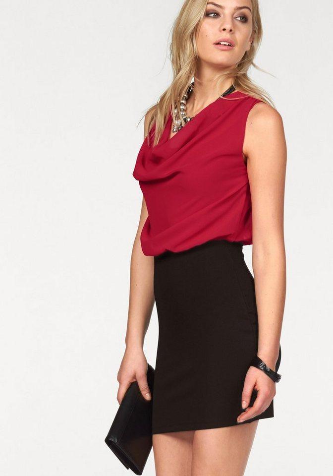 Melrose Chiffonkleid im Colourblock-Look in rot-schwarz