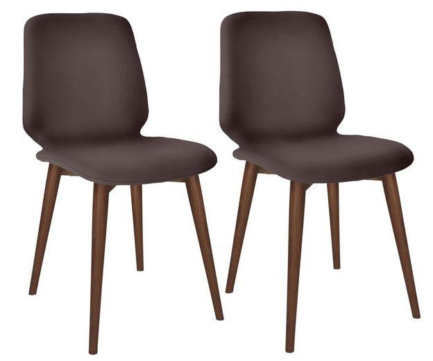 PBJ Designhouse Lederstuhl 2er-Set »Basic Cut«, Beine walnut, im nordischen Design