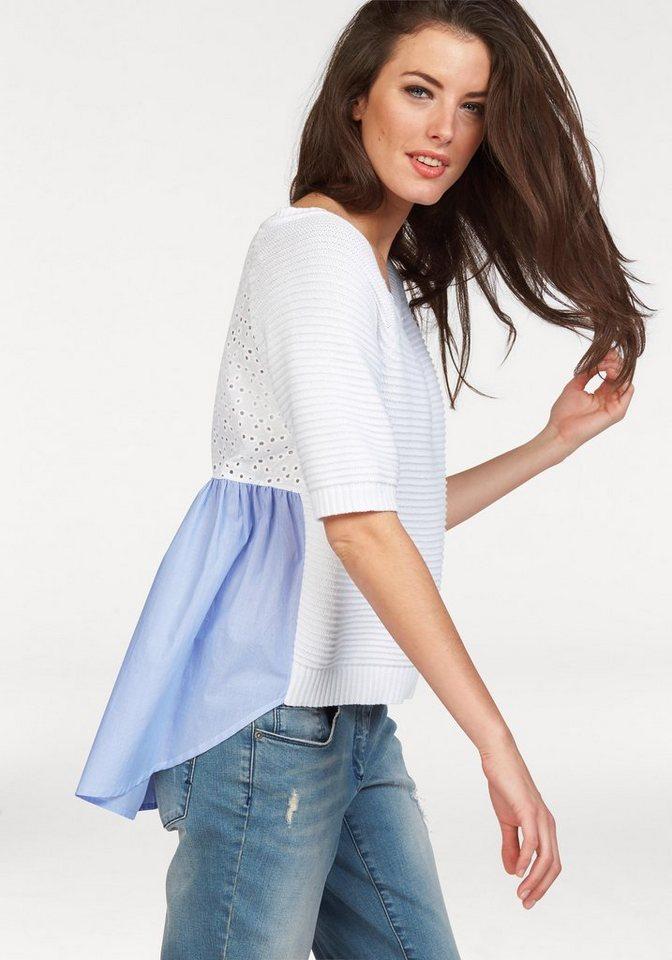 Aniston 3/4 Arm-Pullover in weiß-hellblau-gestreift