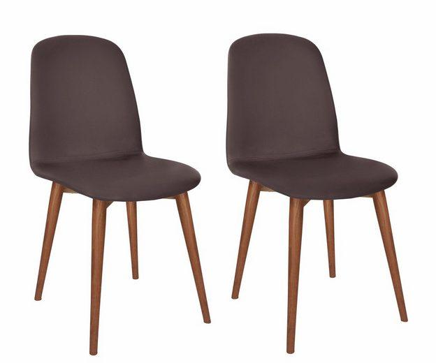 PBJ Designhouse Lederstuhl 2er-Set »Basic Classic«, Beine walnut, im nordischen Design