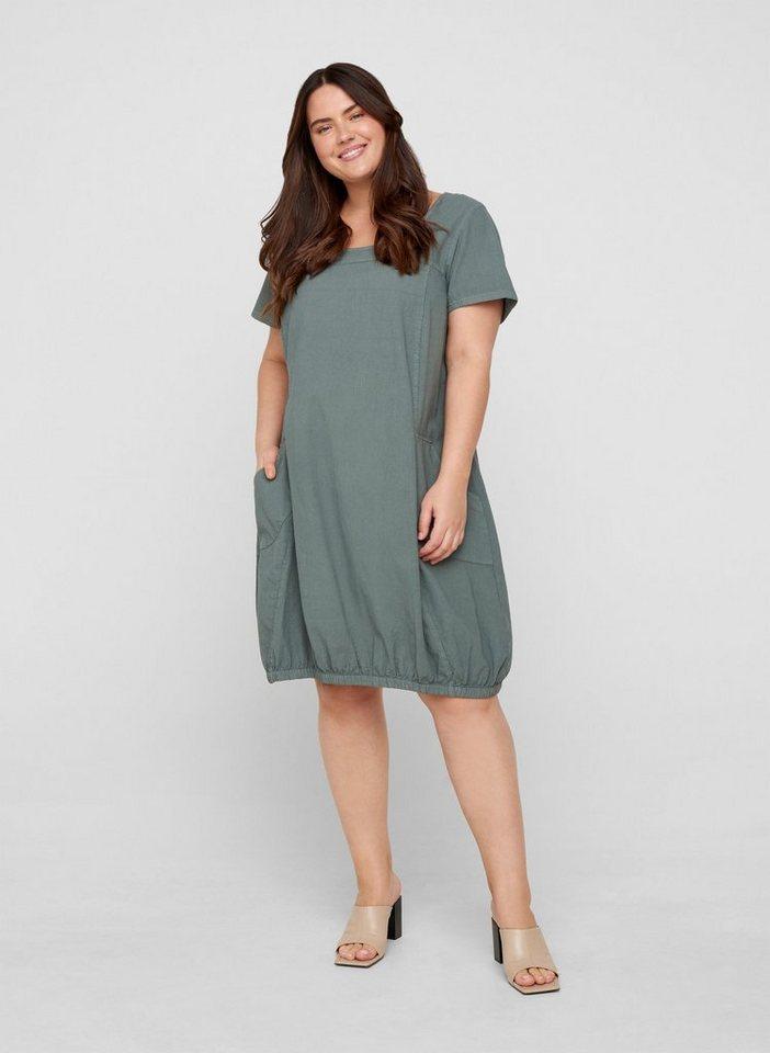 zizzi -  Minikleid Große Größen Damen Kurzarm Baumwollkleid mit Rundhals