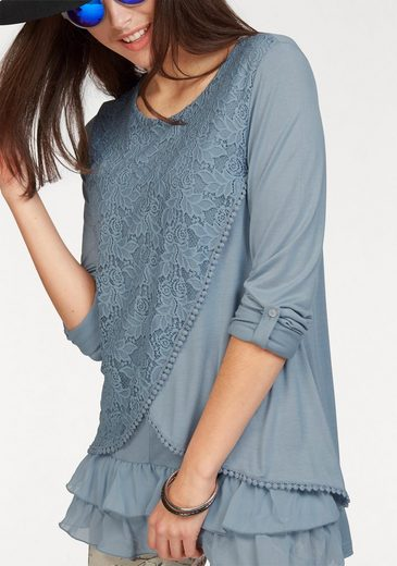 Aniston Langarmshirt, im Blusenlook