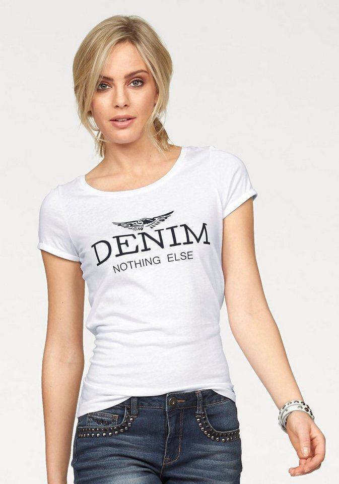 Arizona Print-Shirt mit großem Statement Druck in weiß