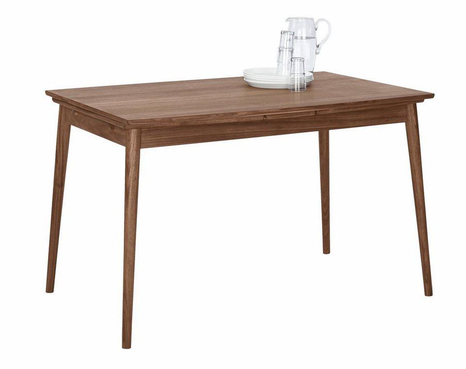 andas Esstisch mit Auszugsfunktion »Curve«, walnut, Breite 122 cm, in Bootsform in Tischplatte Walnuss Furnier