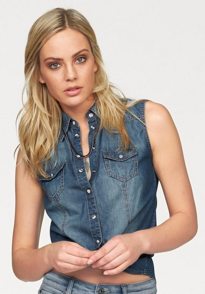 Arizona Jeansbluse Sleeveless in blue-used