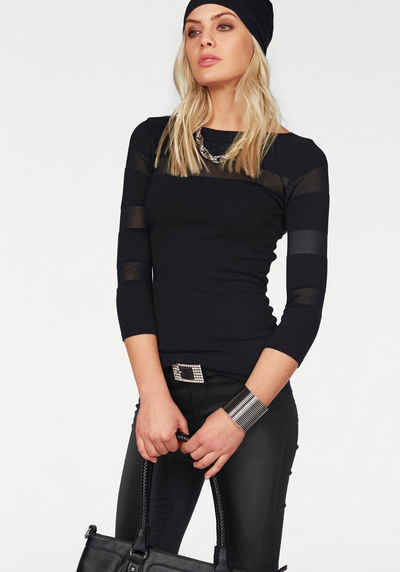 Melrose 3/4 Arm-Pullover mit transparenten Streifen